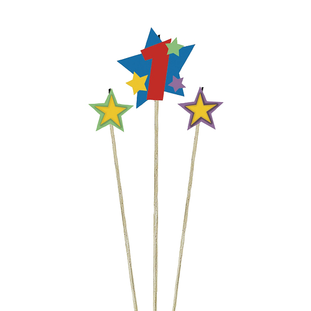 Number 1 Star Birthday Toothpick Candle Set 3pc Image #1