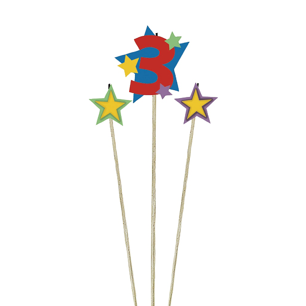 Number 3 Star Birthday Toothpick Candle Set 3pc Image #1
