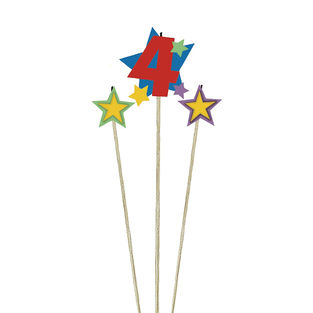 Number 4 Star Birthday Toothpick Candle Set 3pc Image #1