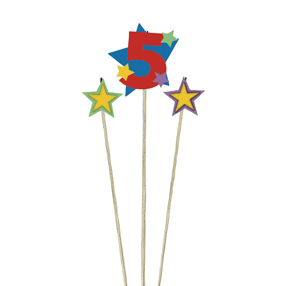 Number 5 Star Birthday Toothpick Candle Set 3pc Image #1