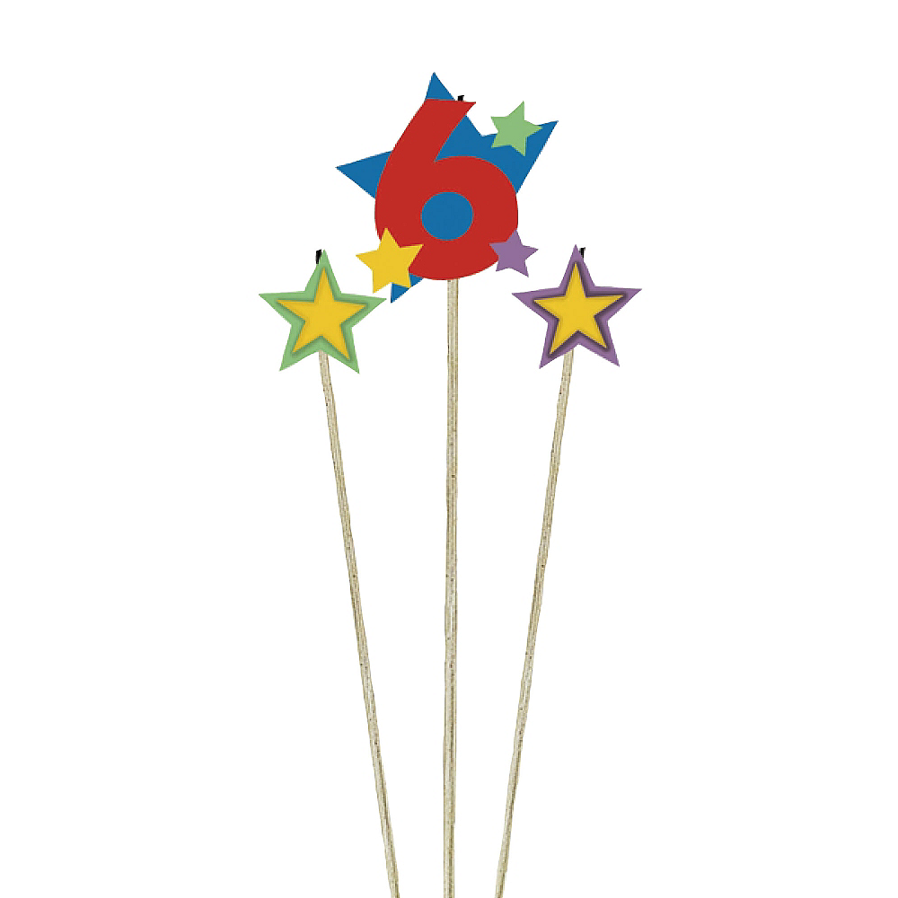 Number 6 Star Birthday Toothpick Candle Set 3pc Image #1