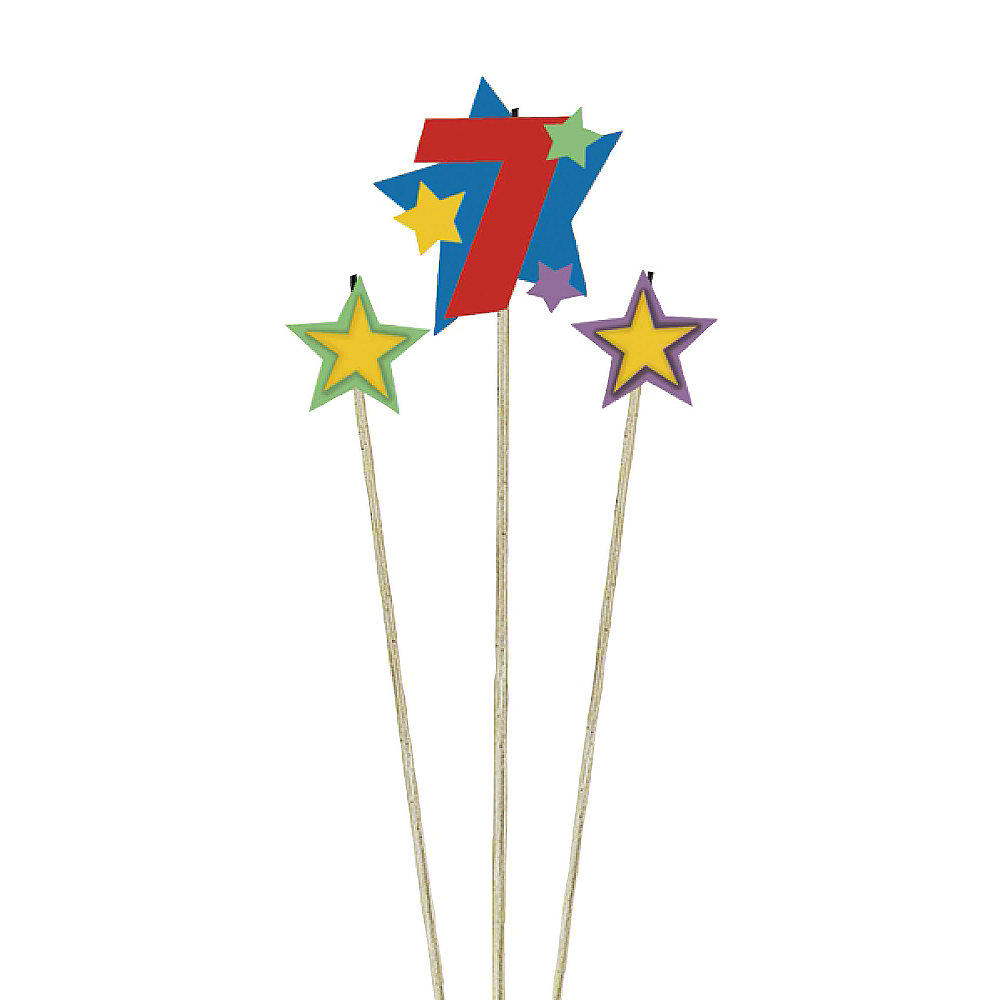 Number 7 Star Birthday Toothpick Candle Set 3pc Image #1