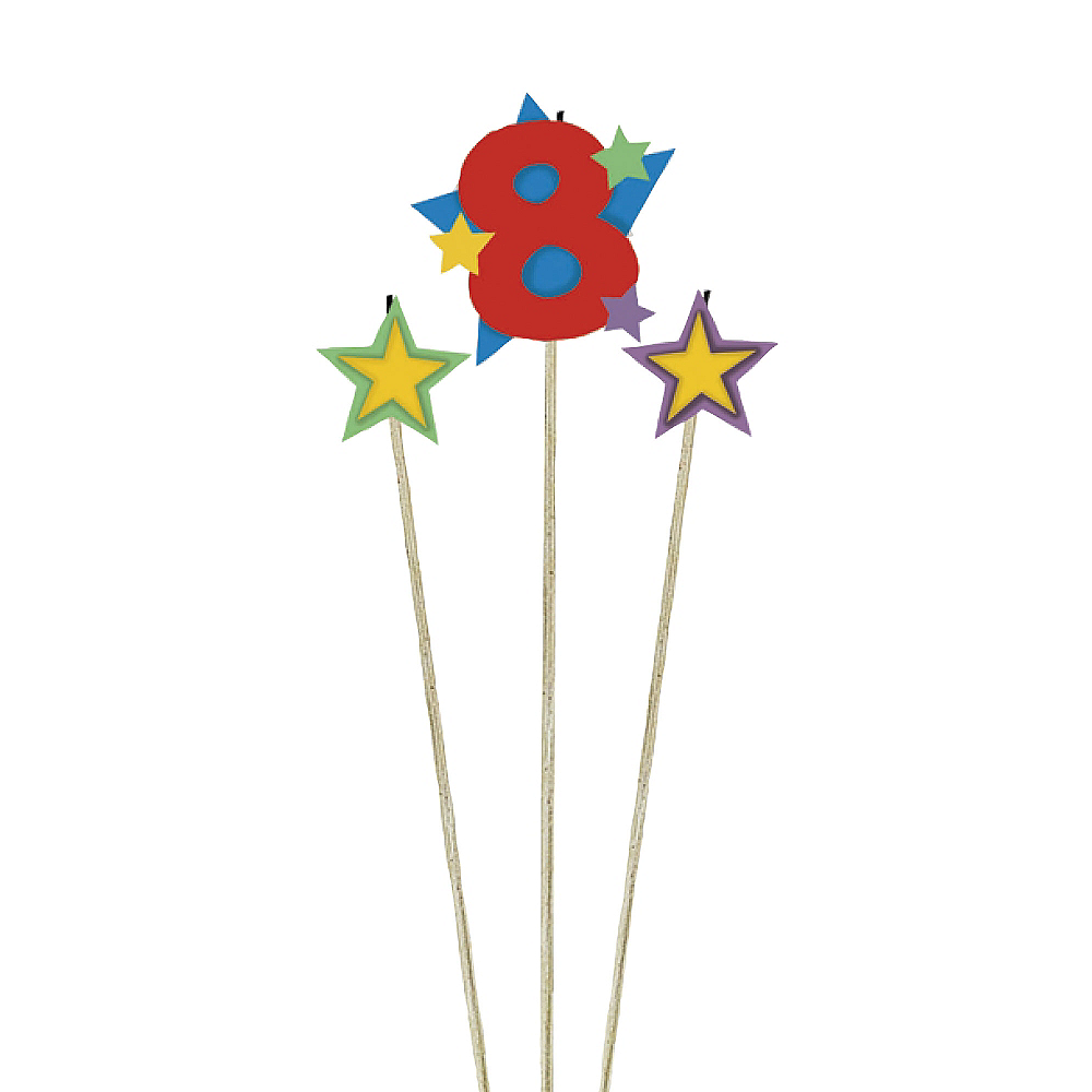 Number 8 Star Birthday Toothpick Candle Set 3pc Image #1