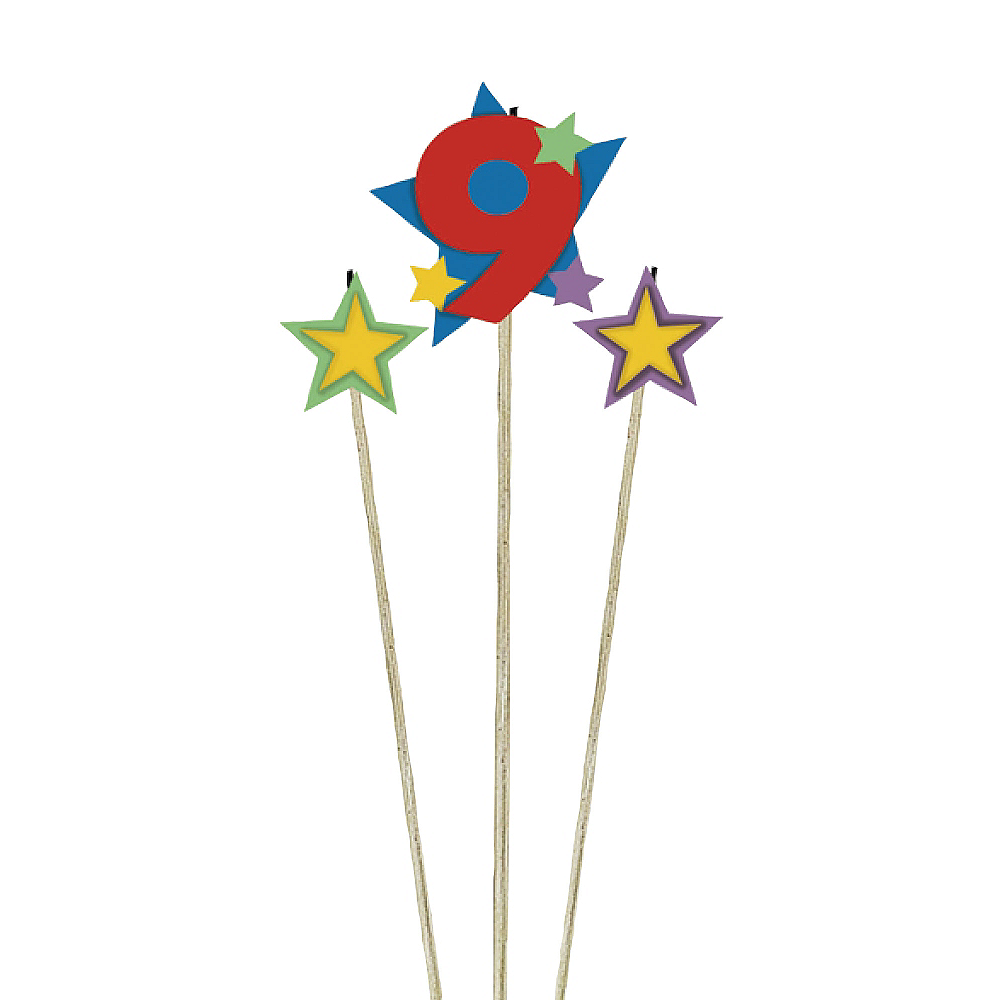 Nav Item for Number 9 Star Birthday Toothpick Candle Set 3pc Image #1