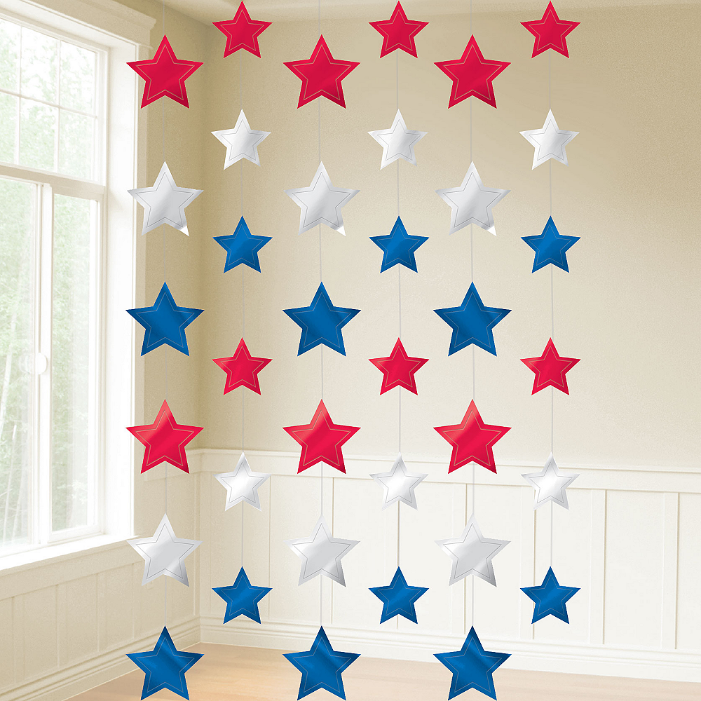 Patriotic Red, White & Blue Stars String Decorations 6ct Image #2