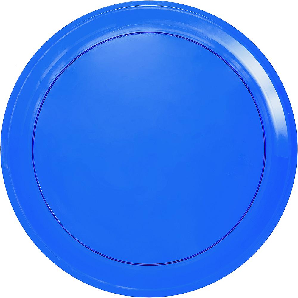 Royal Blue Plastic Round Platter Image #1
