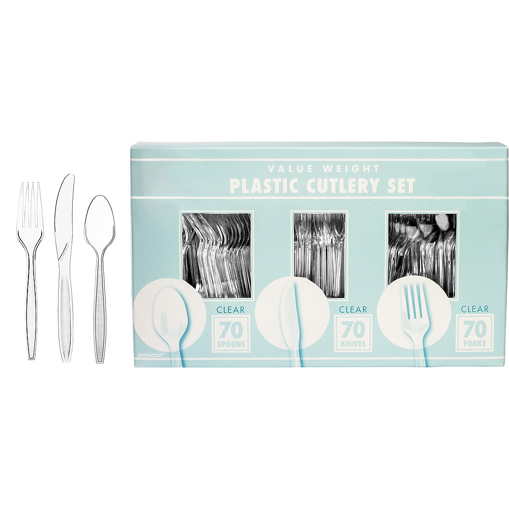 Big Party Pack CLEAR Plastic Cutlery Set 210ct Image #1