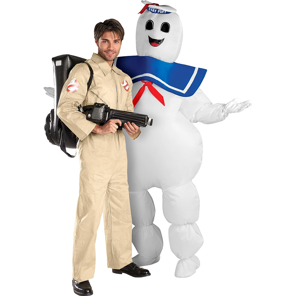 Ghostbusters & Inflatable Stay Puft Marshmallow Man Costume Image #1