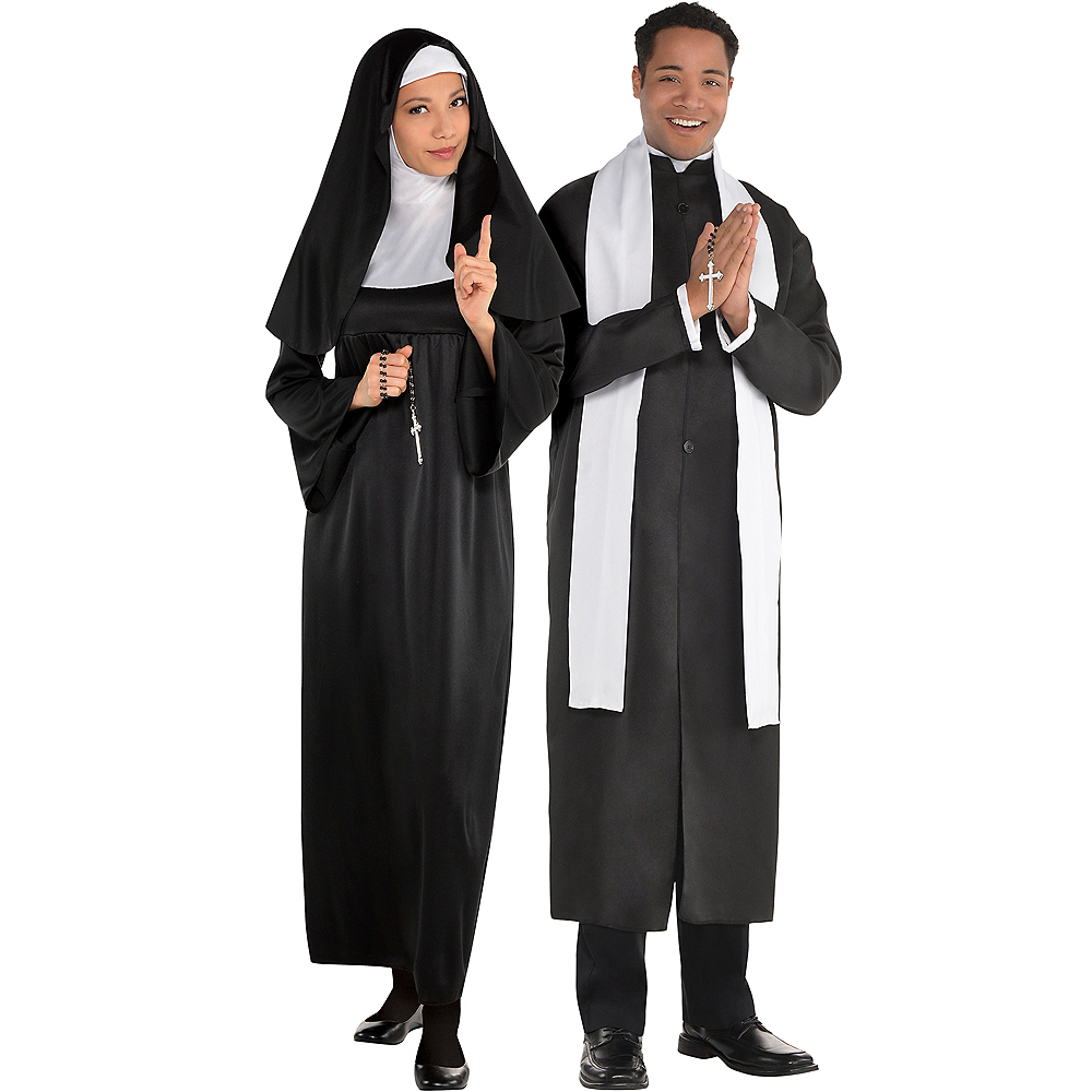 Adult Holy Sister Nun & Father Priest Couples Costumes Image #1