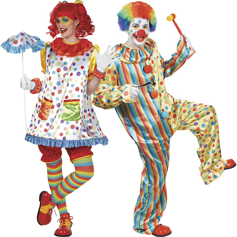 Nav Item for Adult Clown Girl & Clown Jumpsuit Couples Costumes Image #1