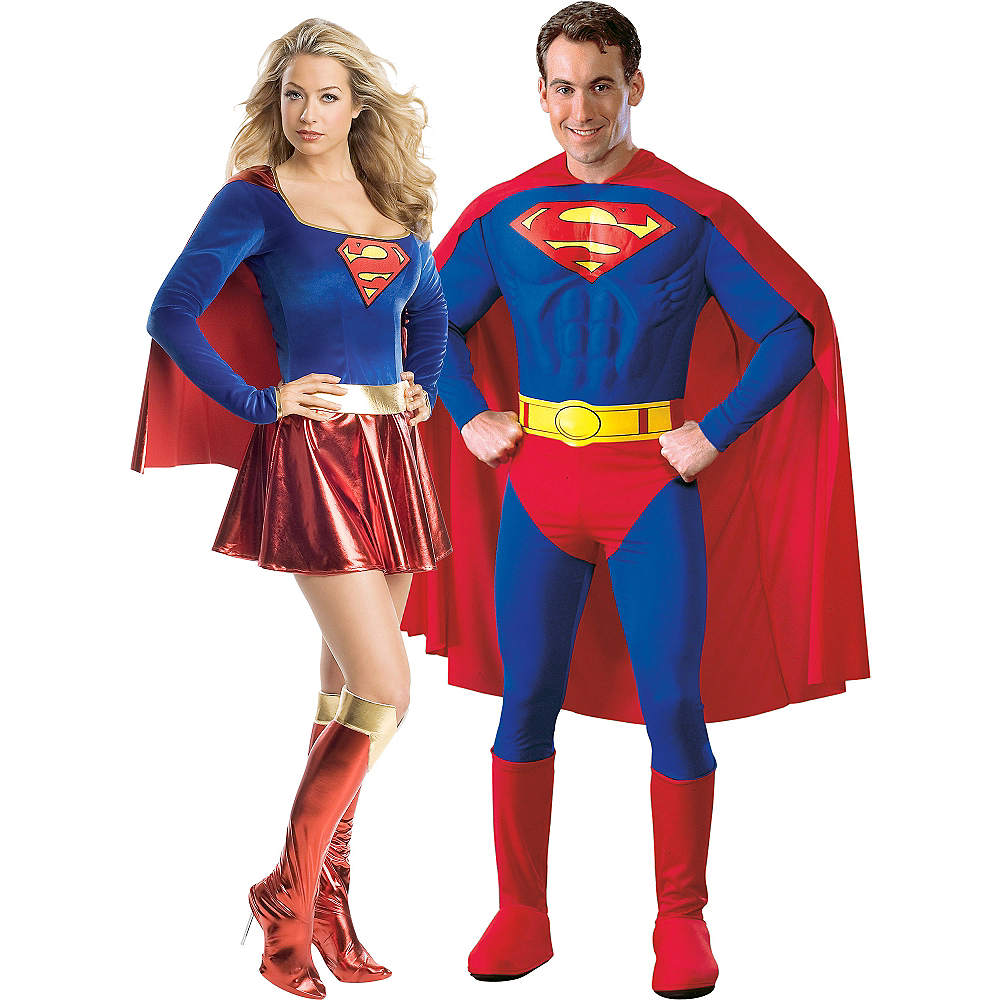 Adult Supergirl & Superman Couples Costumes Image #1
