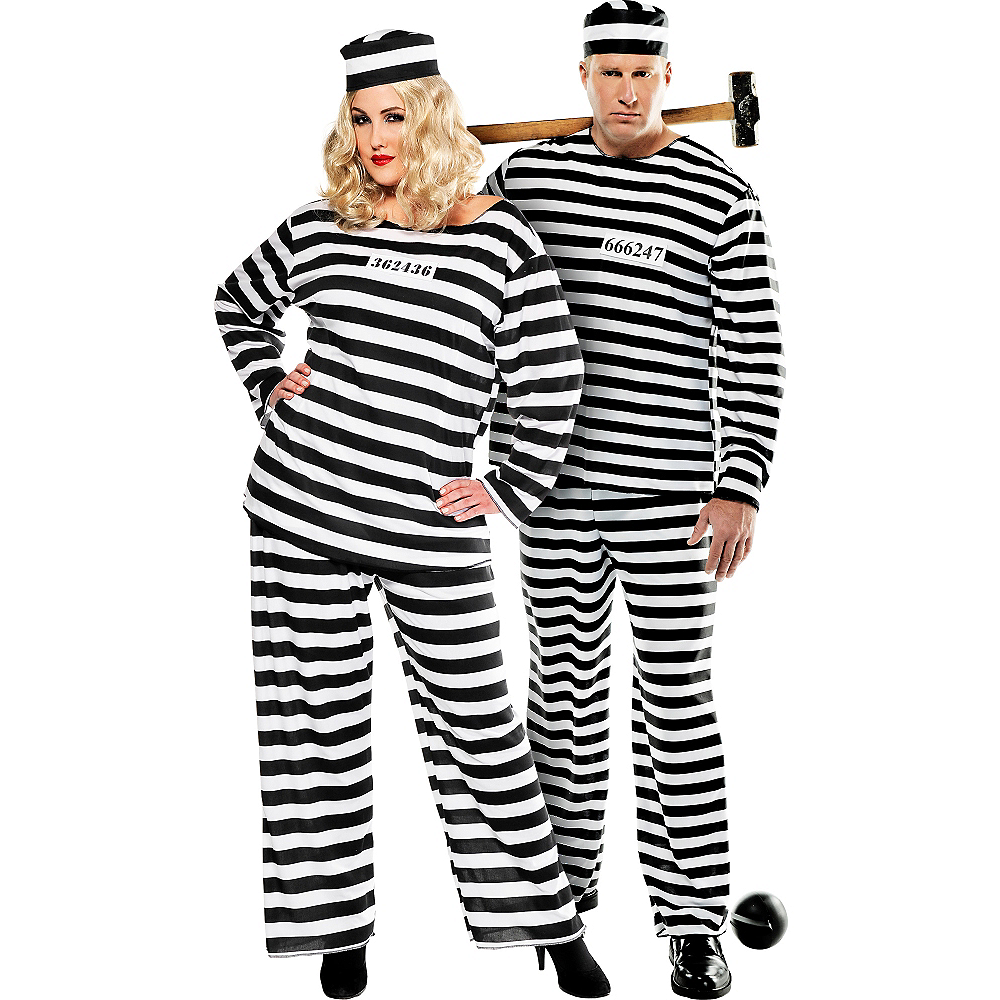 Plus Size Lady Lawless & Convict Prisoner Couples Costumes Image #1