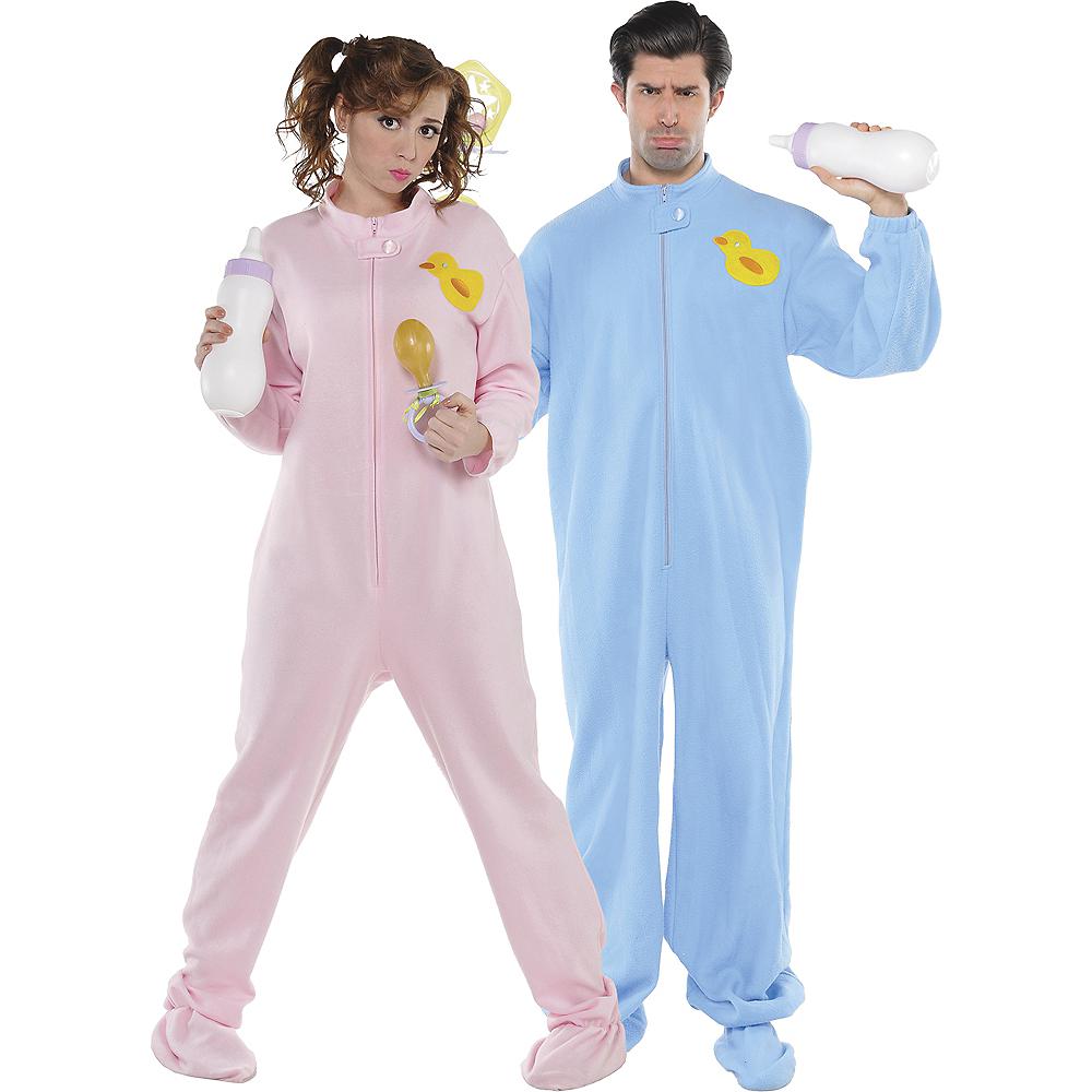 Adult Pink Footie Pajamas & Blue Footie Pajamas Couples Costumes Image #1