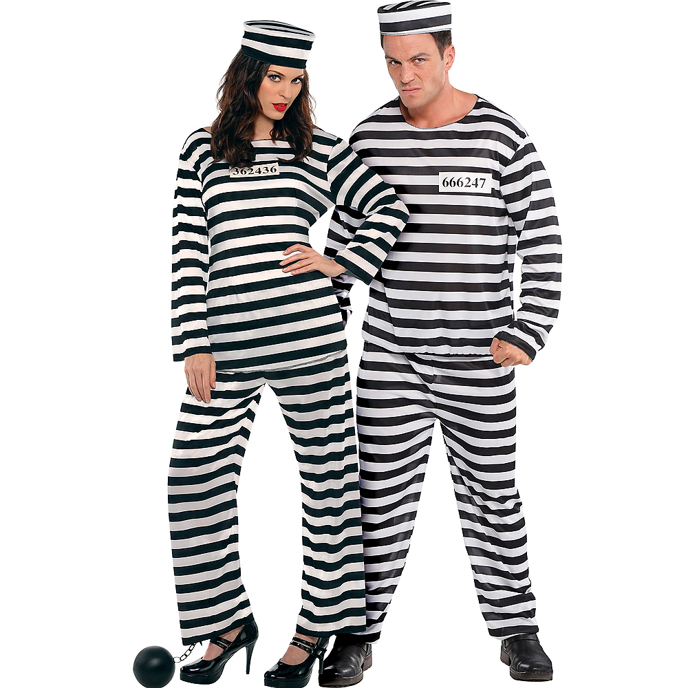 Adult Lady Lawless Prisoner & Jail Bird Convict Prisoner Couples Costumes Image #1