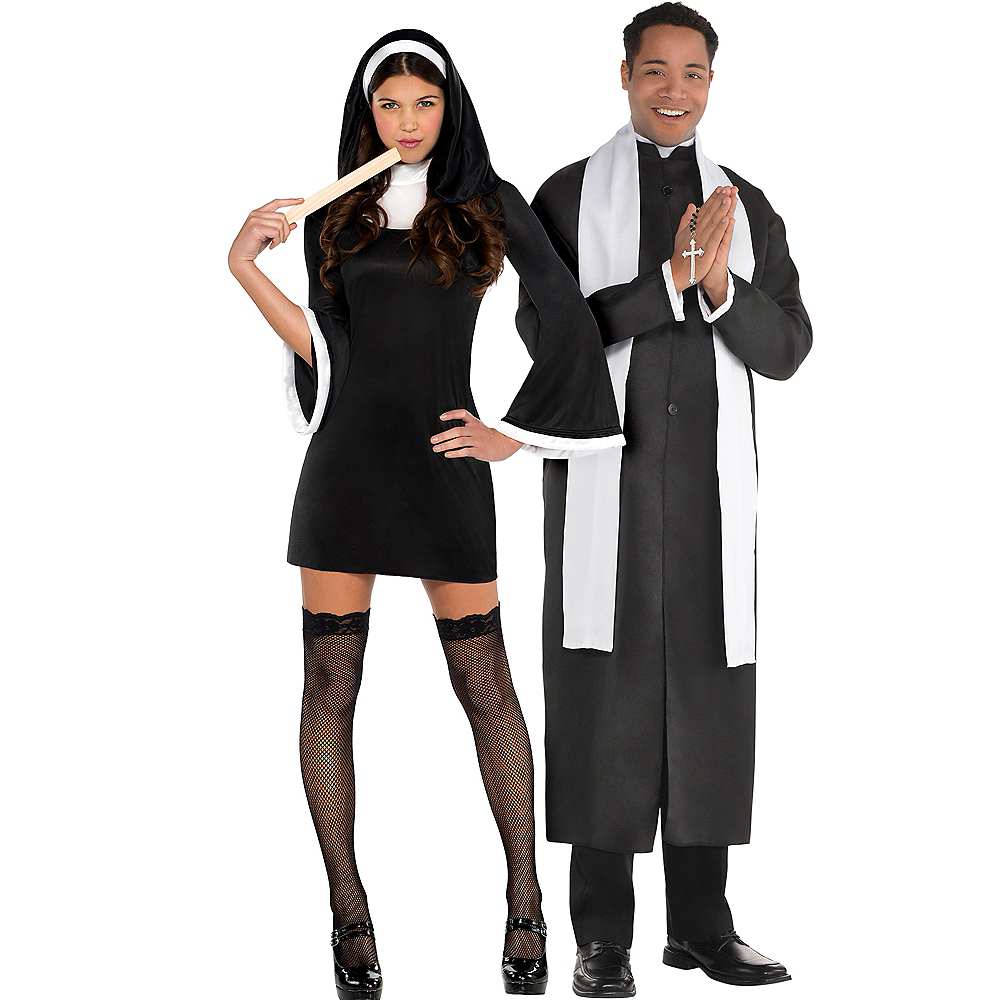 Adult Blessed Babe Nun & Father Priest Couples Costumes Image #1