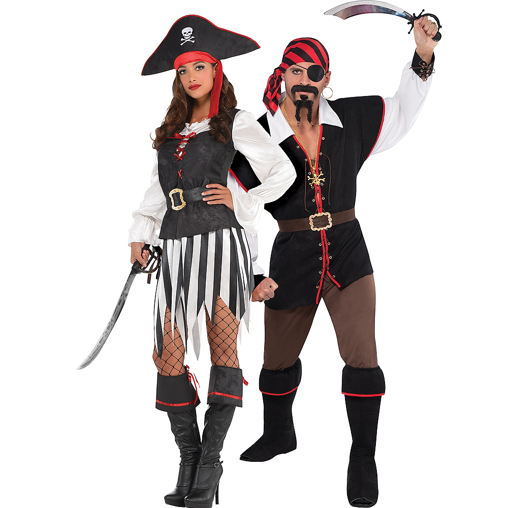 Adult High Sea Sweetheart Pirate & Rebel of the Sea Pirate Couples Costumes Image #1