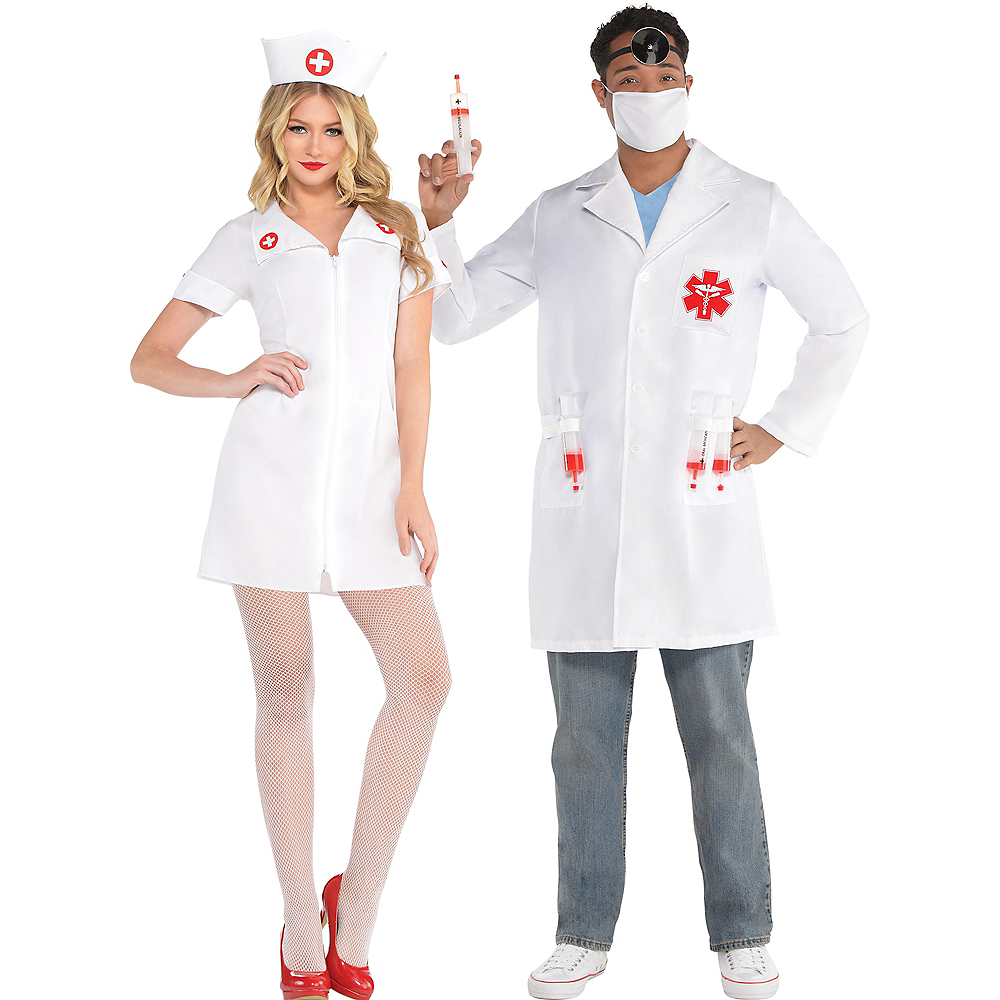 Adult Hospital Honey Nurse & Hot Shot Doctor Couples Costumes Image #1