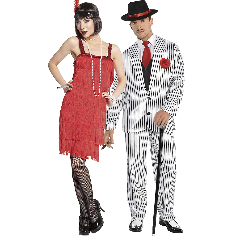 Adult Red Flapper & Big Gangsta Couples Costumes Image #1