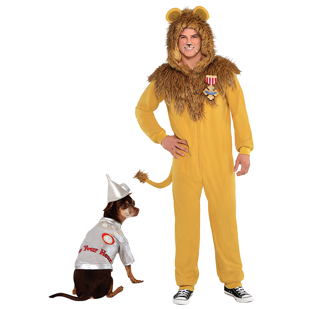 Adult Zipster Cowardly Lion One Piece & Tin Man Doggy & Me Costumes - Wizard of Oz Image #1