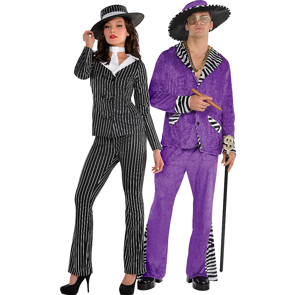 Adult Mob Wife & Sugar Daddy Pimp Couples Costumes Image #1