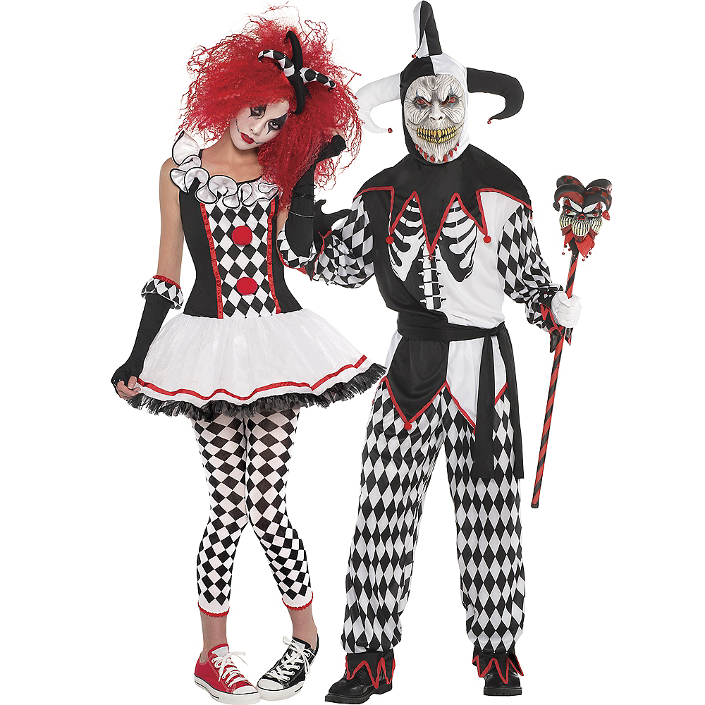 Adult Harlequin Honey & Sinister Jester Couples Costumes Image #1