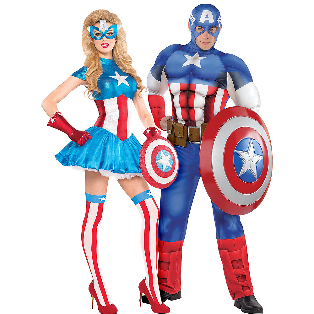 Adult American Dream & Classic Captain America Couples Costumes Image #1