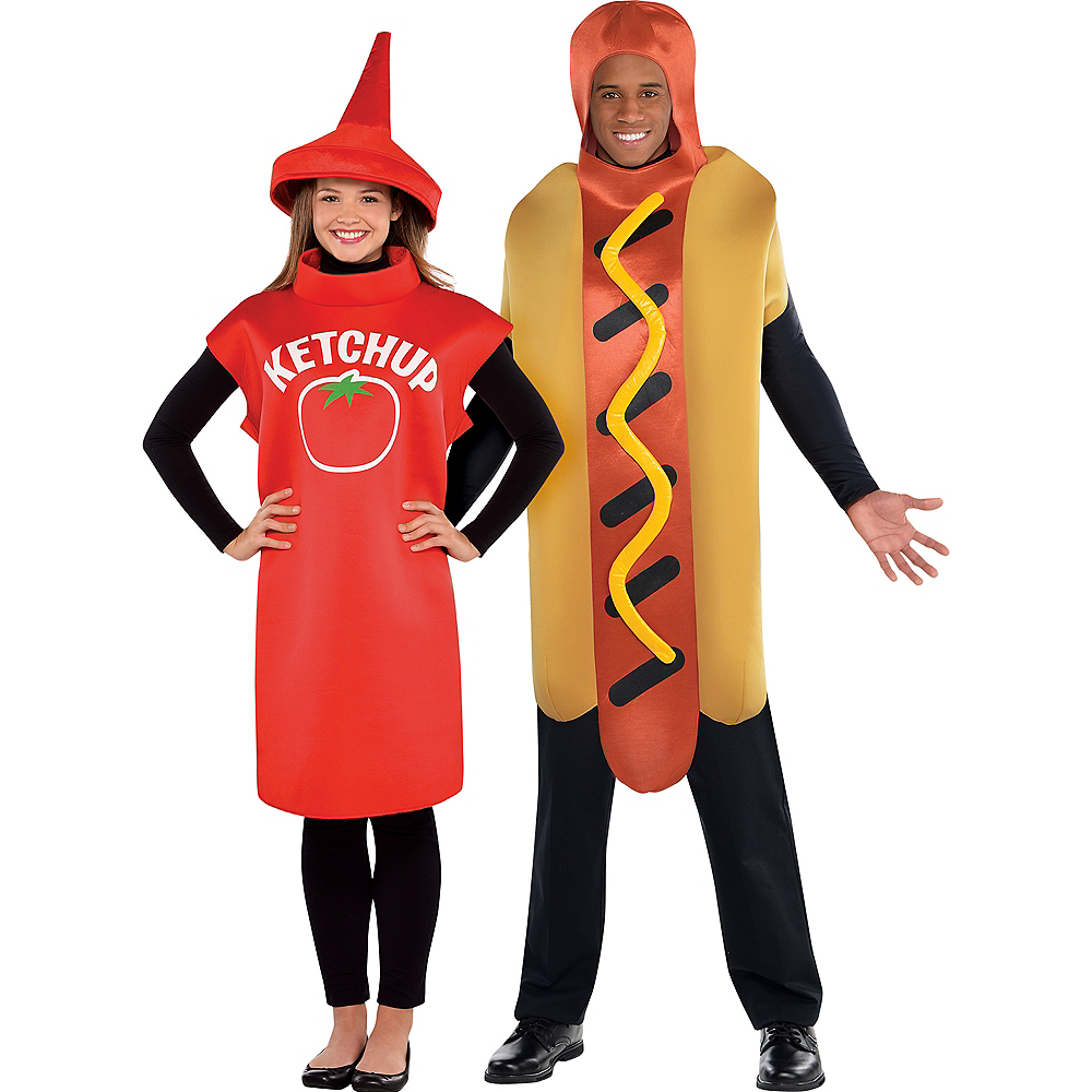 Adult Classic Ketchup & Hot Diggity Hot Dog Couples Costumes Image #1
