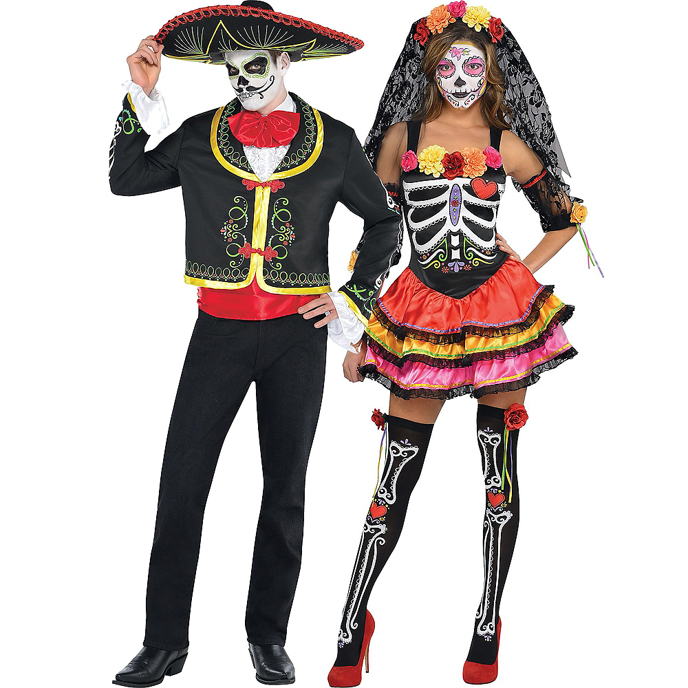 Day of the Dead Senorita & Sombrero Senor Couples Costumes for Adults Image #1