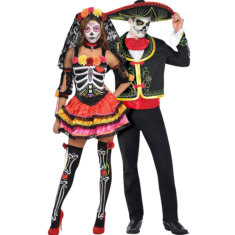 6032f6be6a22 Adult Day of the Dead Senorita & Day of the Dead Sombrero Senor Couples  Costumes Image