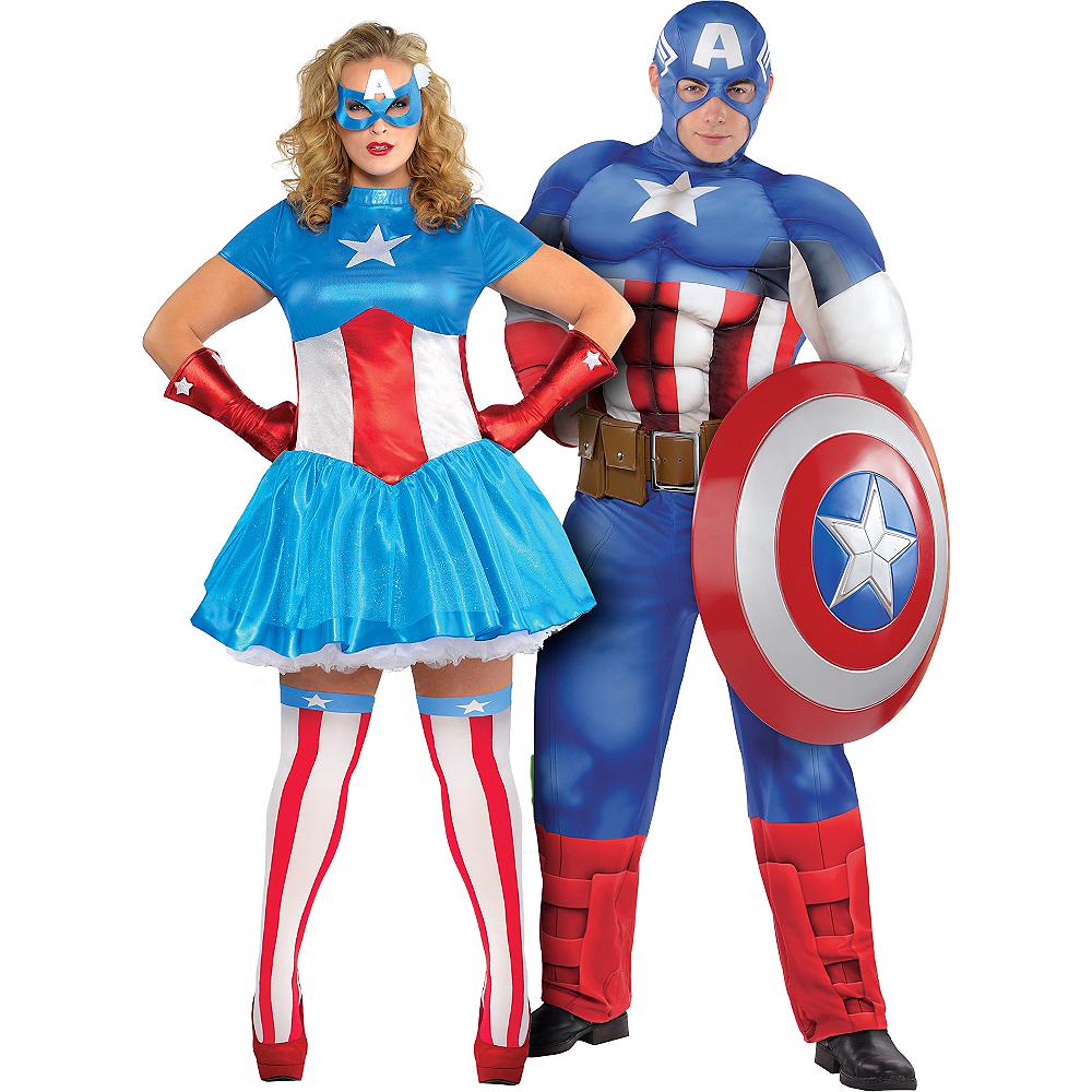 Adult American Dream & Captain America Couples Costumes Plus Size Image #1