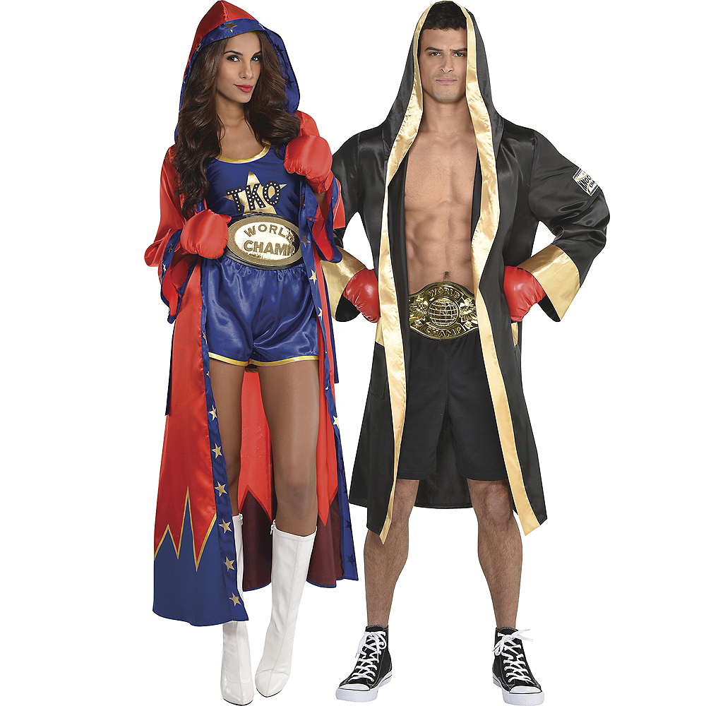 Adult Knockout Sexy Boxer & Boxer Robe Couples Costumes Image #1
