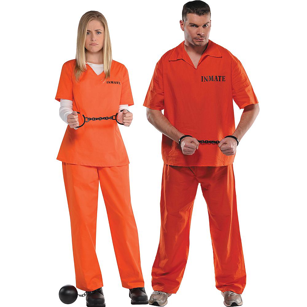 Adult Orange Prisoner & Inmate Convict Prisoner Couples Costumes Image #1