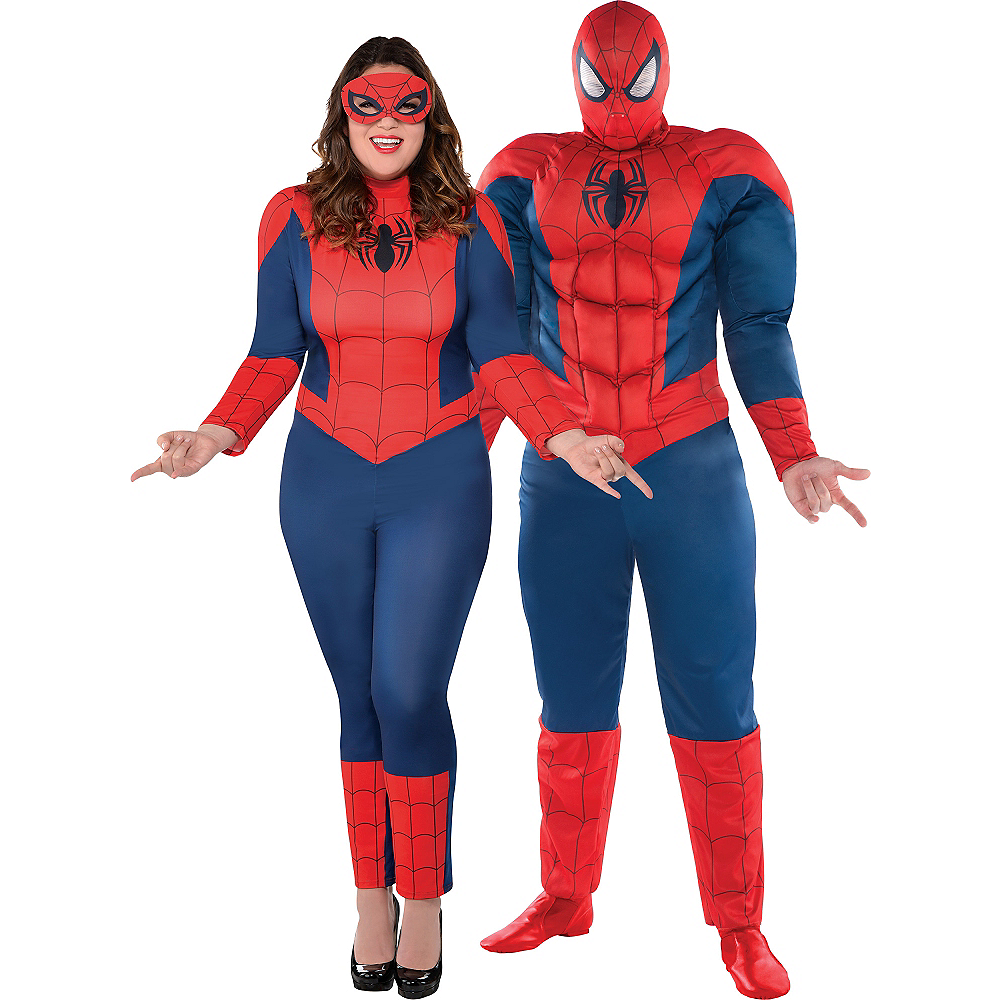 Adult Spider-Girl & Spider-Man Couples Costumes Plus Size Image #1