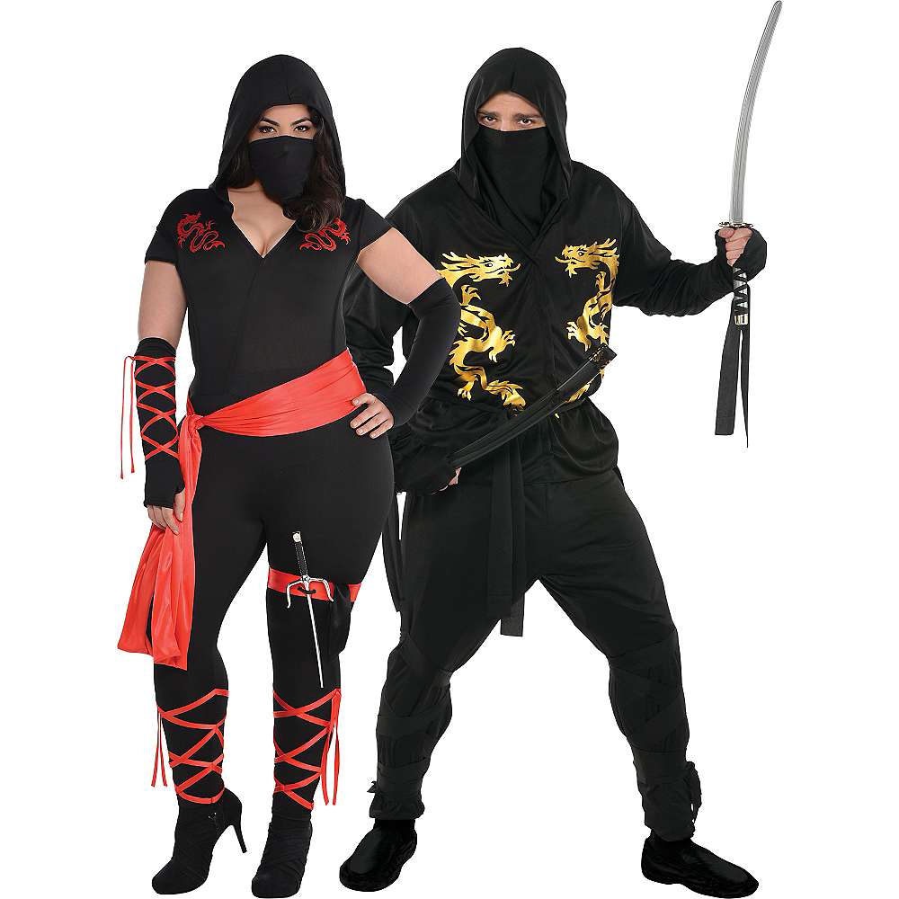 Adult Ninja Couples Costumes Plus Size Image #1