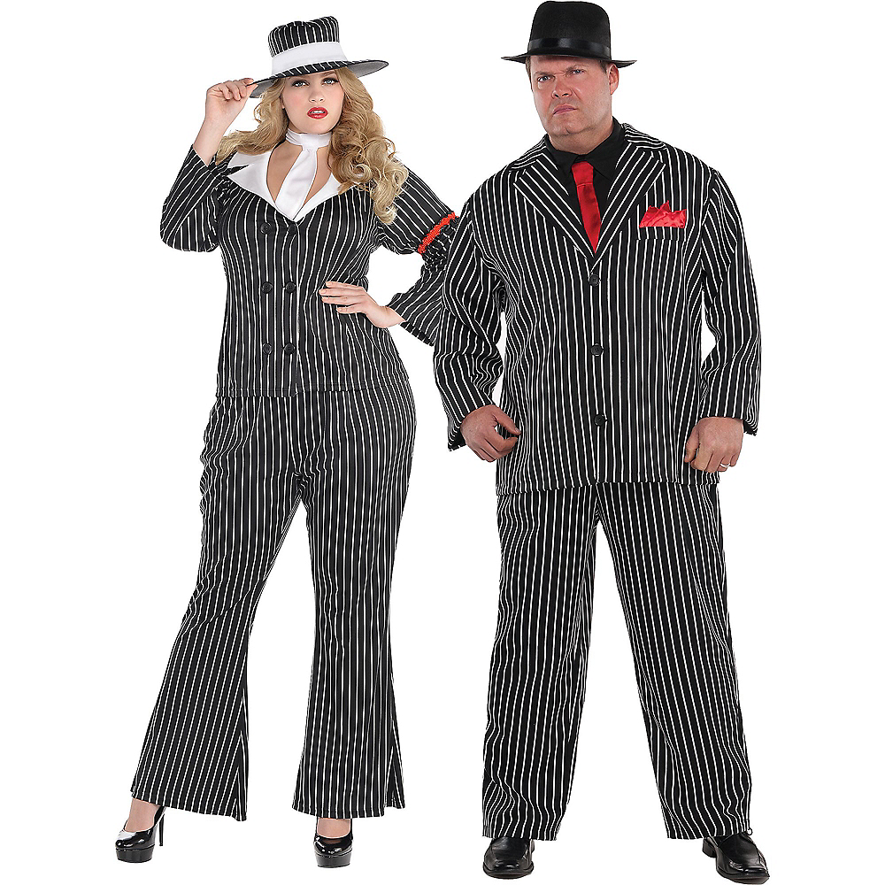 Adult Mob Wife & Mob Boss Couples Costumes Plus Size Image #1