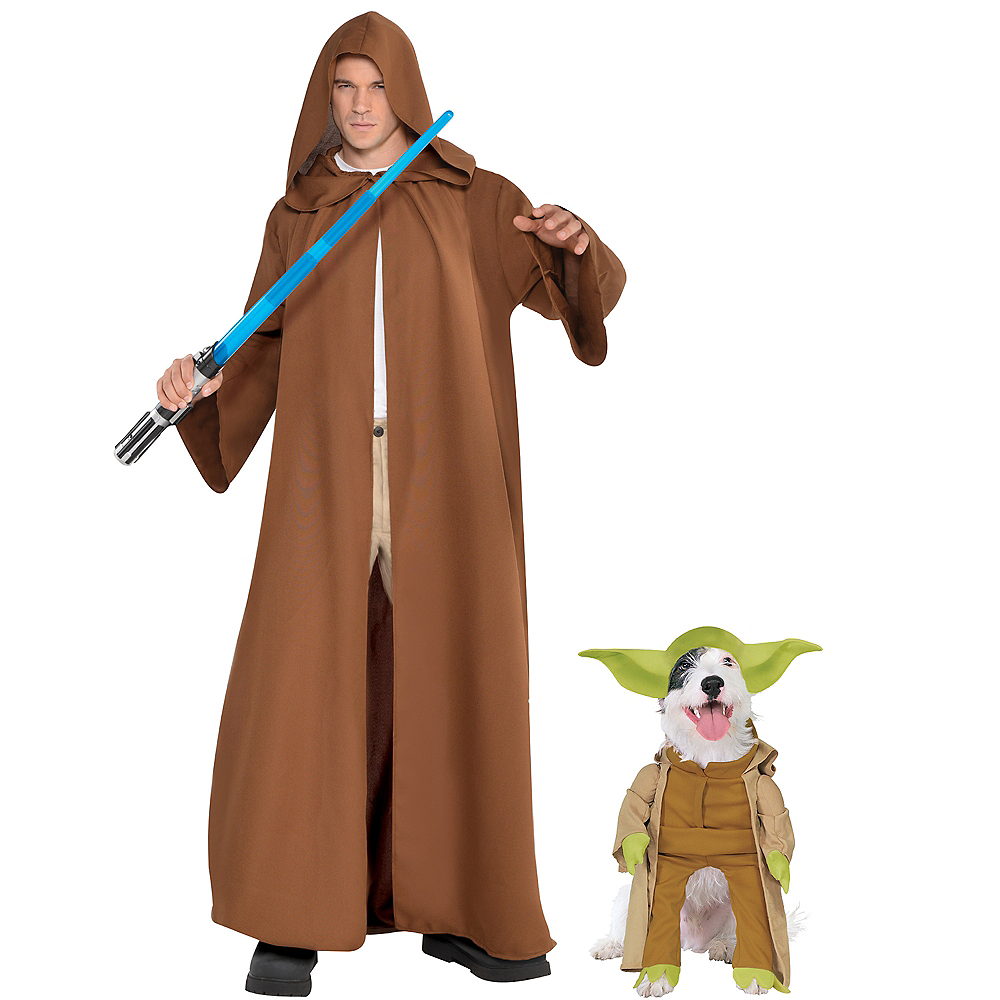 Adult Brown Jedi Robe & Yoda Doggy & Me Costumes - Star Wars Image #1