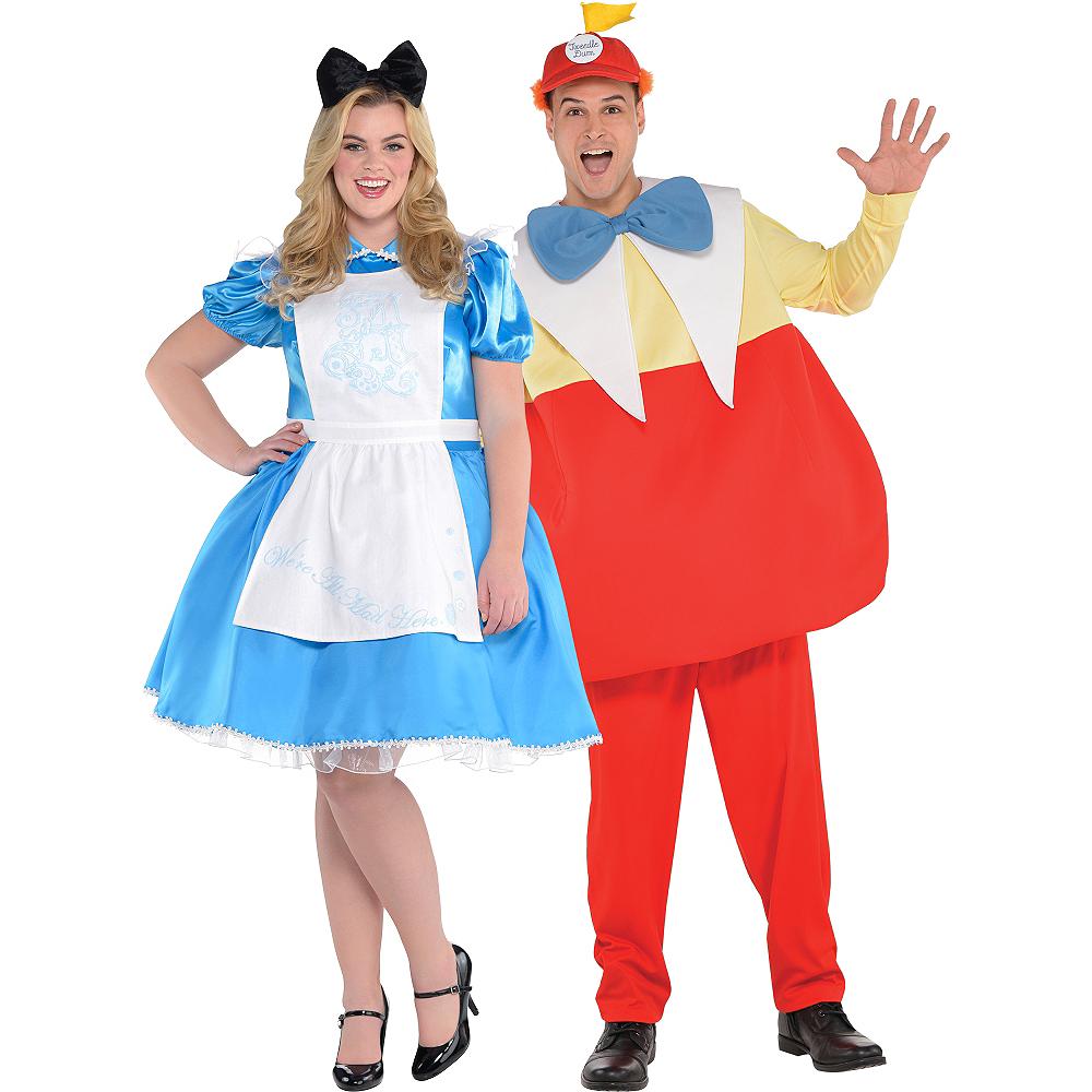 Adult Alice & Tweedledum Couples Costumes Plus Size - Alice in Wonderland Image #1