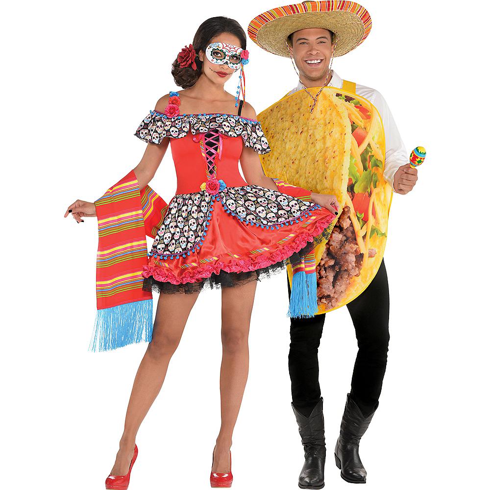 Adult Senorita Sugar Skull & Taco Couples Costumes Image #1