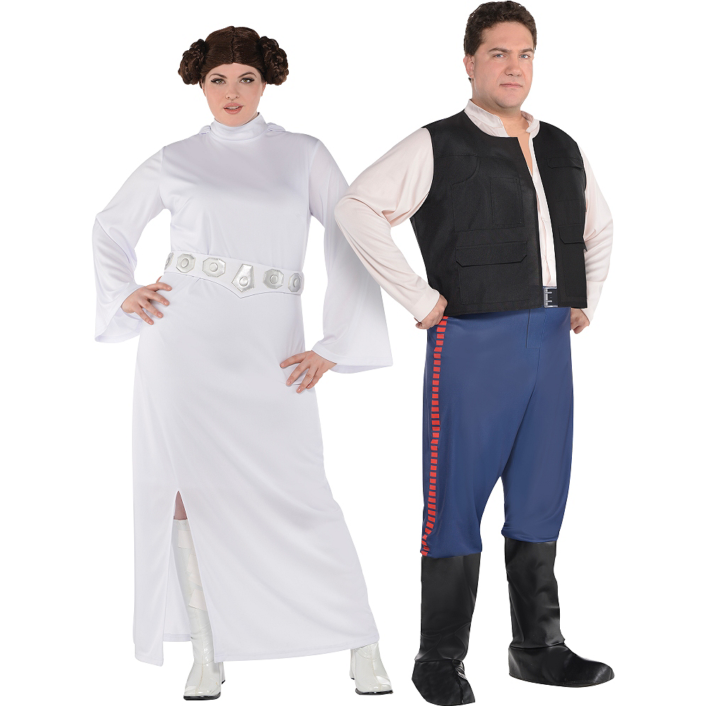 Adult Han Solo & Princess Leia Couples Costumes Plus Size - Star Wars Image #1