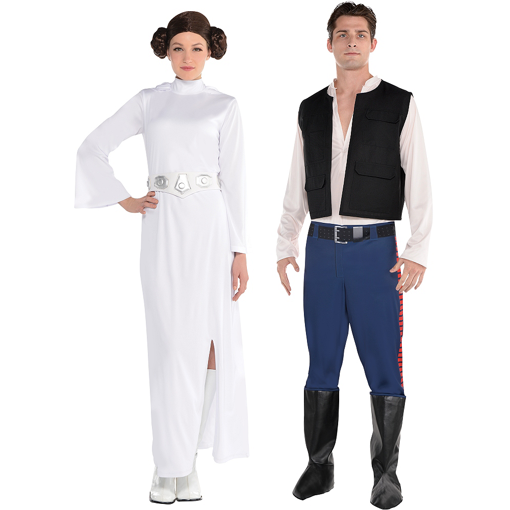 Adult Han Solo & Princess Leia Couples Costumes - Star Wars Image #1