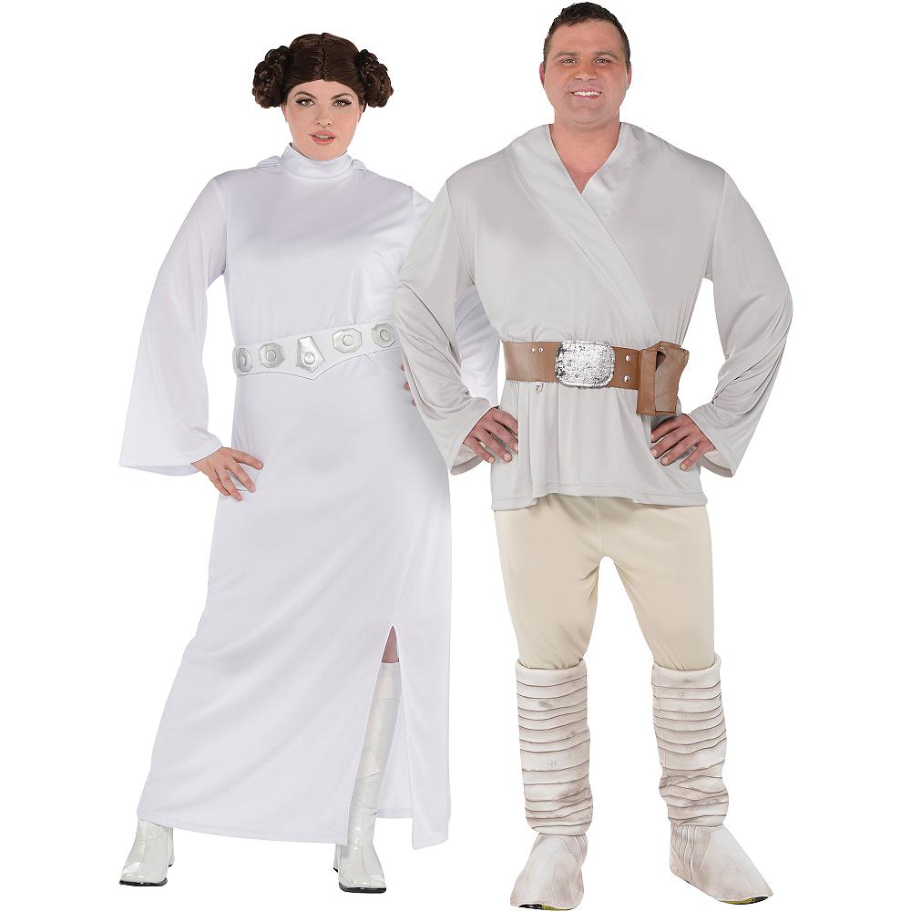 Adult Luke Skywalker & Princess Leia Couples Costumes Plus Size - Star Wars Image #1