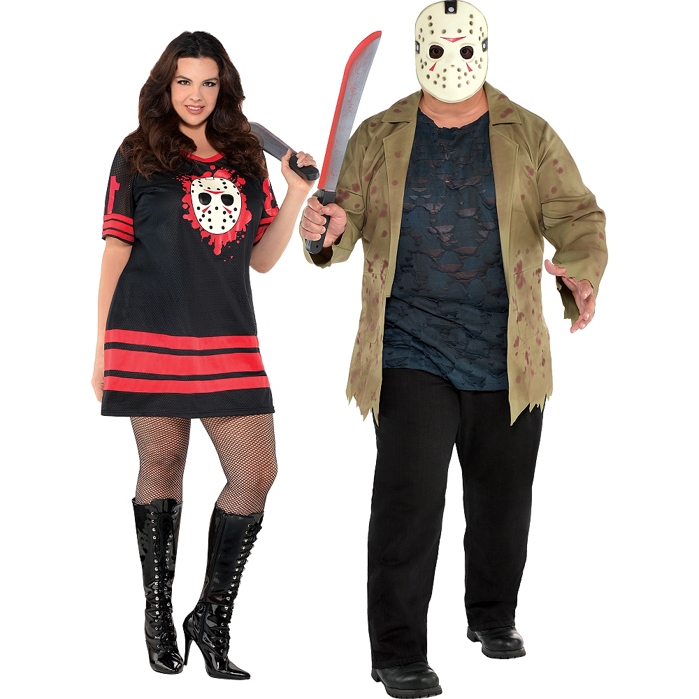 Adult Friday the 13th Couples Costumes Plus Size Image #1