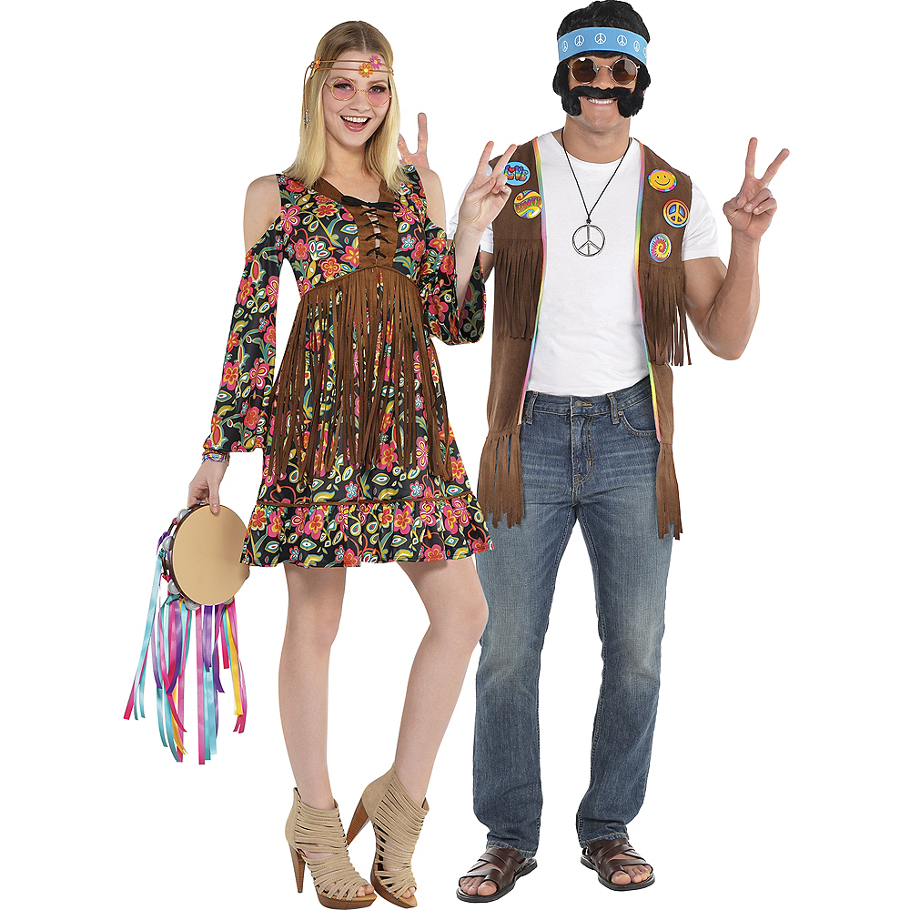 Nav Item for Adult Flower Power Hippie & Hippie Couples Costumes Image #1