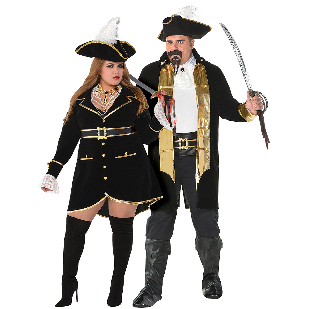 Adult Treasure Vixen Pirate & Treasure Captain Pirate Couples Costumes Plus Size Image #1
