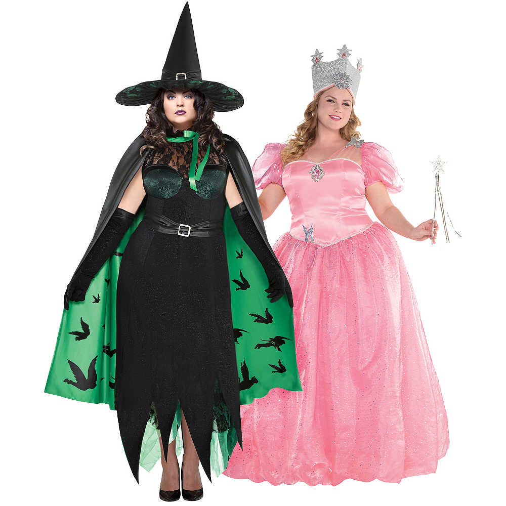 Women's Glinda & The Wicked Witch Couples Costumes Plus Size - Wizard of Oz Image #1