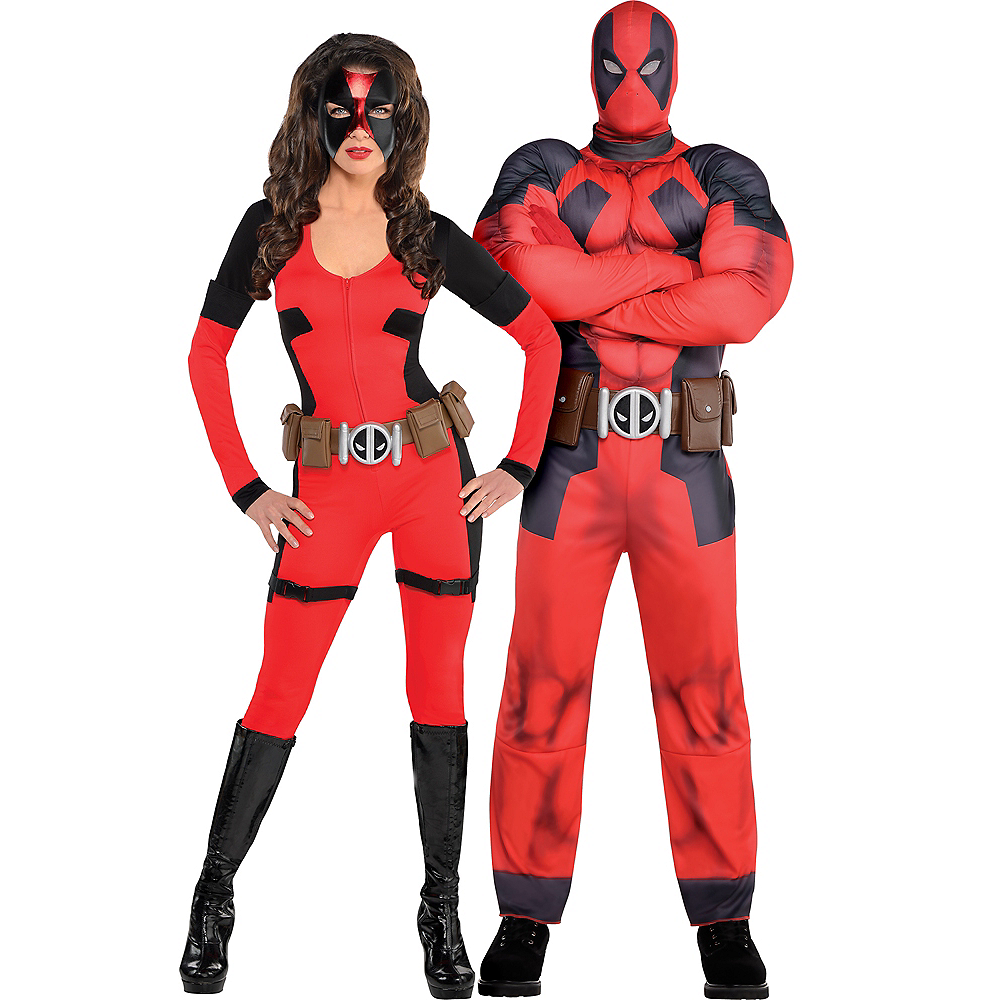 Adult Lady Deadpool & Deadpool Muscle Couples Costumes Image #1