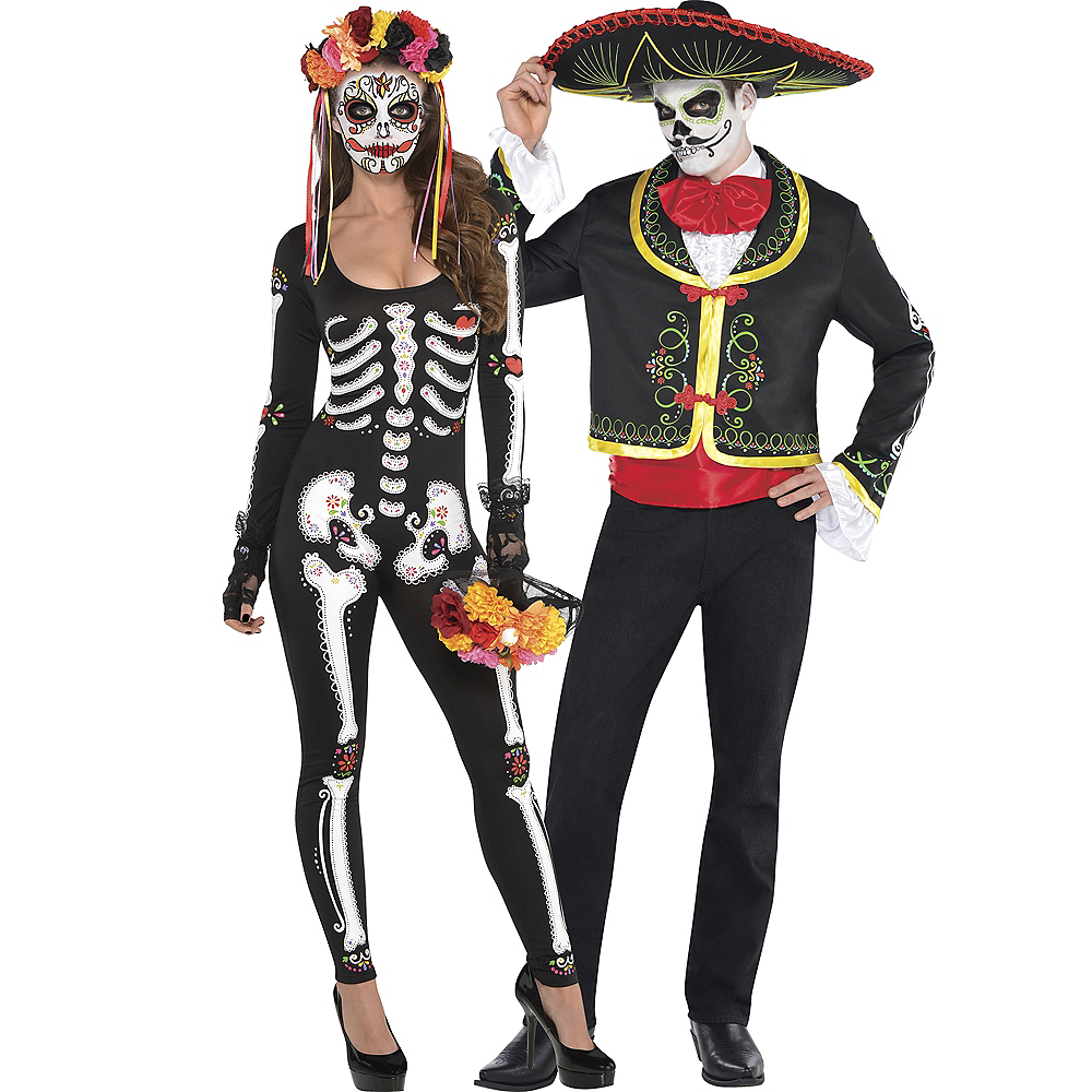 Adult Day of the Dead Catsuit & Day of the Dead Sombrero Senor Couples Costumes Image #1