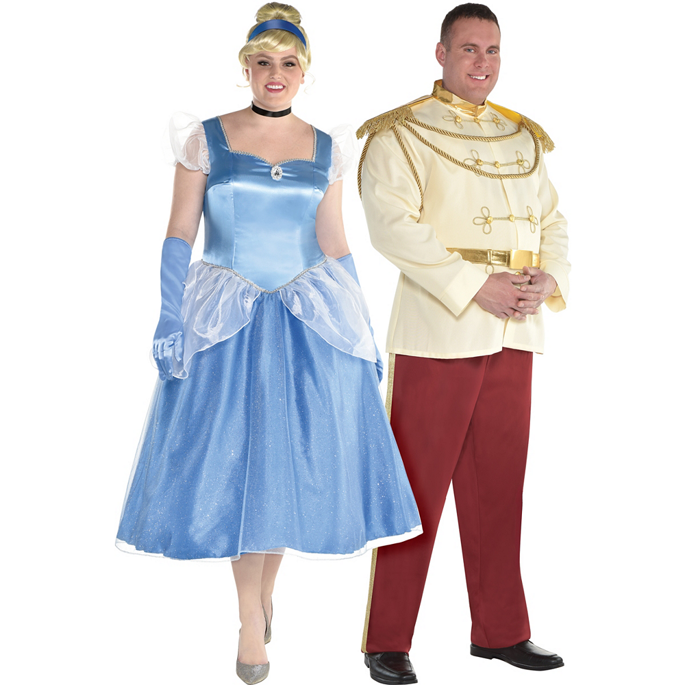 Adult Cinderella & Prince Charming Couples Costumes Plus Size - Cinderella Image #1