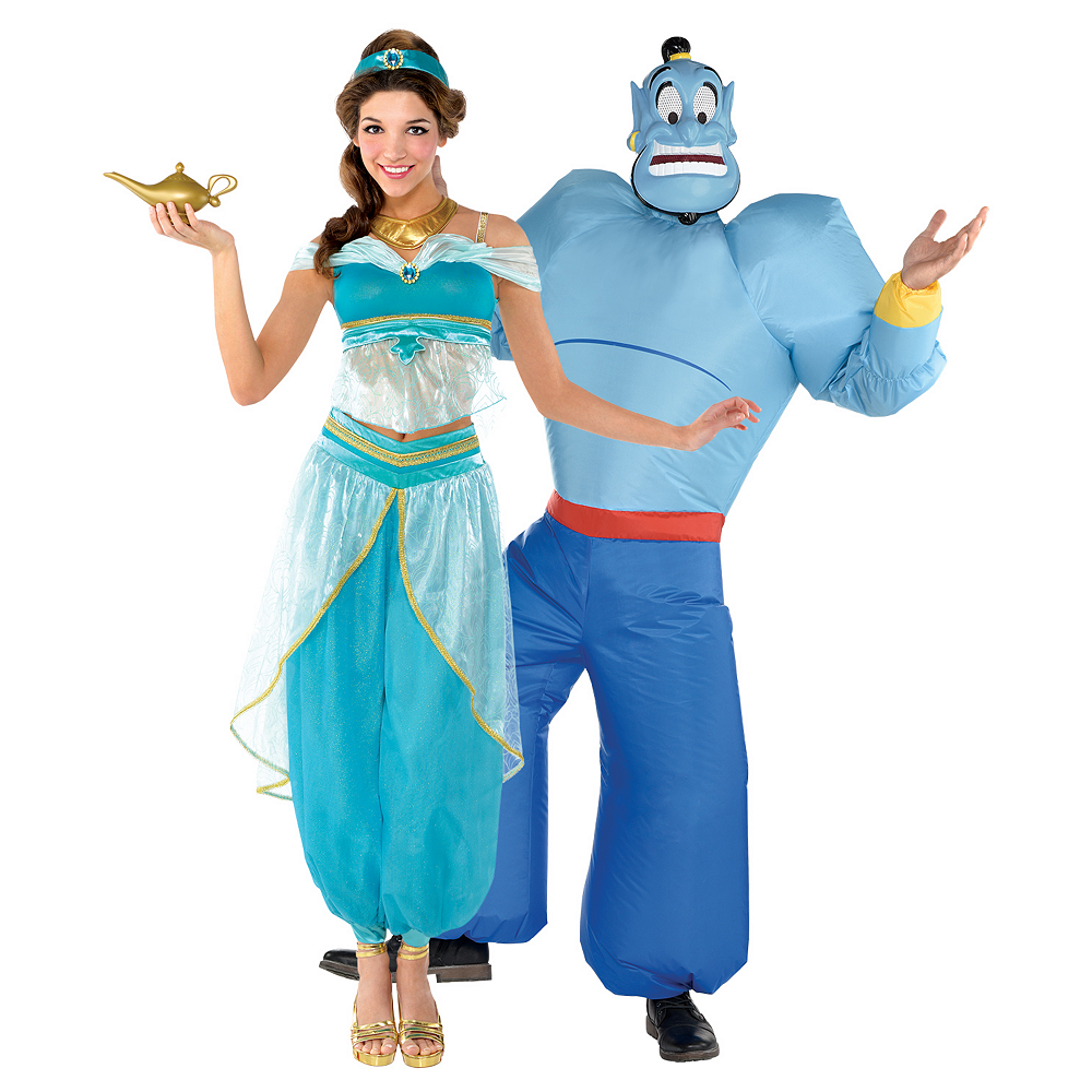 Adult Jasmine & Inflatable Genie Couples Costumes - Aladdin Image #1