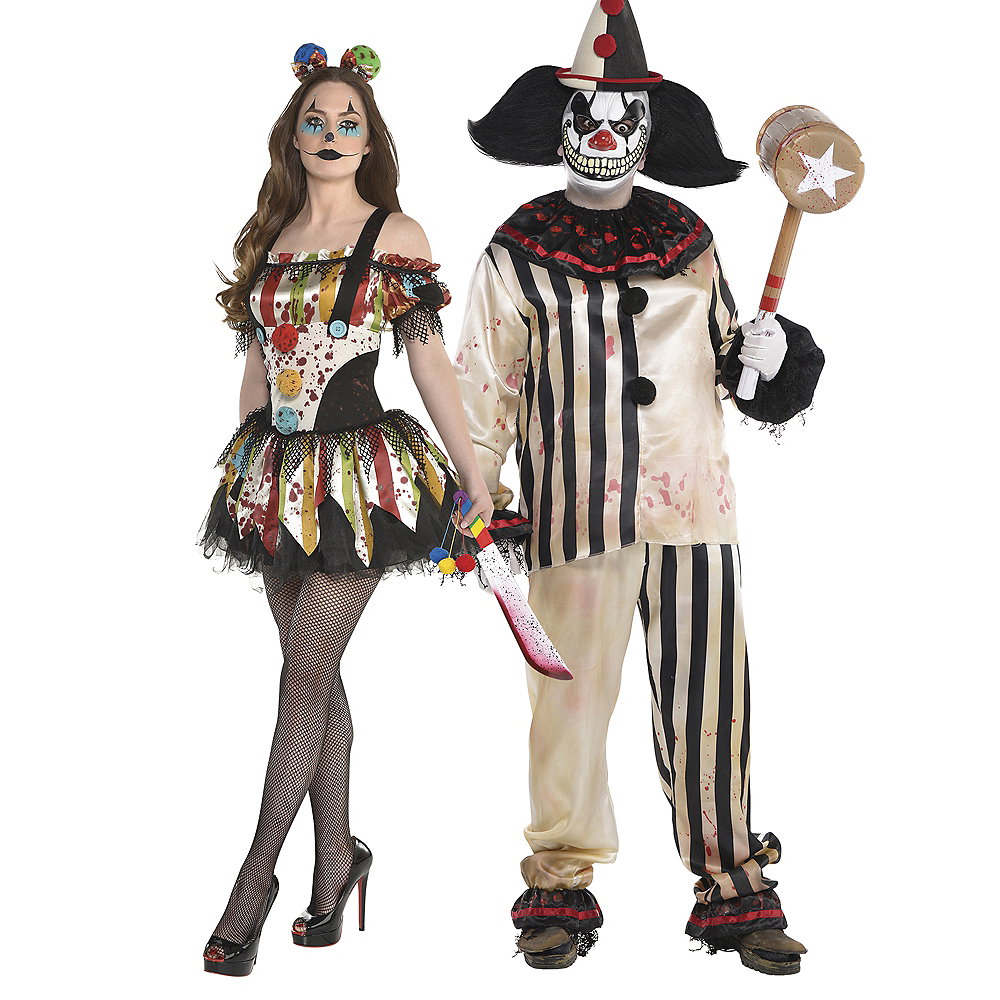 Adult Bloody Clown Dress & Bloody Clown Shirt & Pants Couples Costumes Image #1